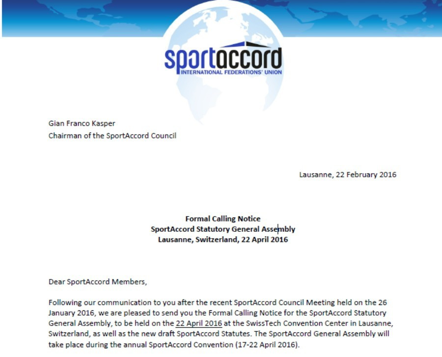 A formal calling notice was sent out last week to SportAccord members for the General Assembly on April 22, at which the election to choose a new President will take place ©ITG