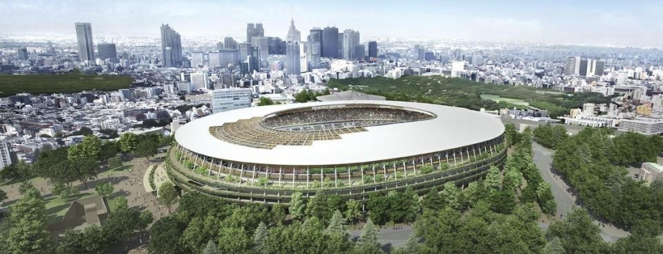 The Olympic Flame could be a fire risk at Kengo Kuma's partly wooden stadium