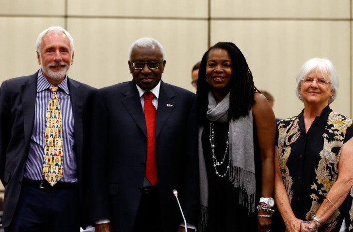 Vin Lananna, President of TrackTown USA (left) at the IAAF Council meeting in Eugene in July 2014 alongside (from left) IAAF President Lamine Diack, USATF President Stephanie Hightower and Eugene Mayor Kitty Piercy ©Getty Images