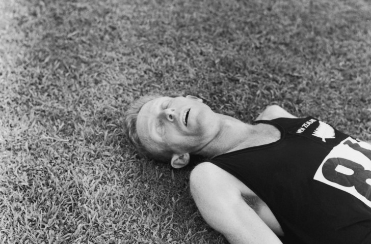 New Zealand's Murray Halberg, pictured exhausted after winning Olympic 5,000m gold at Rome 1960, marked the first Oregon Indoor Invitational meeting by running a world record in the two miles race ©Getty Images