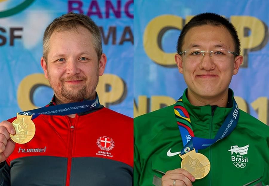 Torben Grimmel, left, and Felipe Almeida Wu, claimed titles in Bangkok ©ISSF