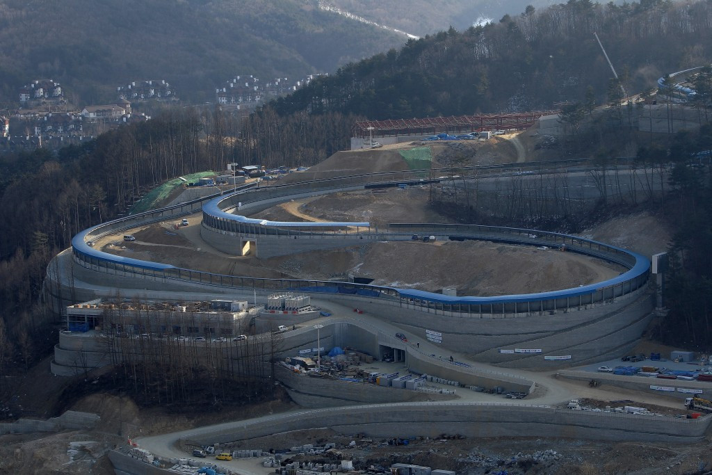 A lack of ice has hindered testing at the Alpensia Sliding Centre