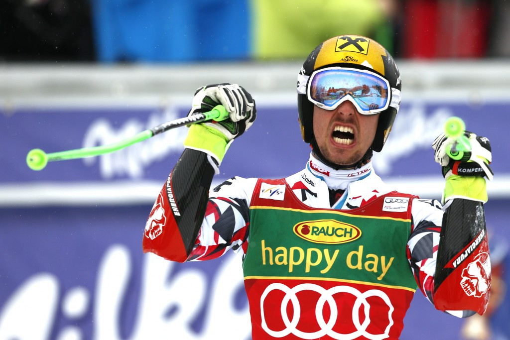Marcel Hirscher celebrates his win today ©Getty Images