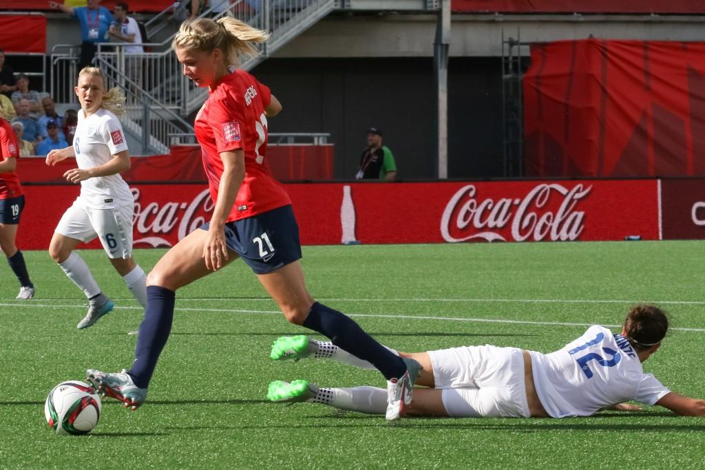 Ada Hegerberg scored twice for Norway in their win