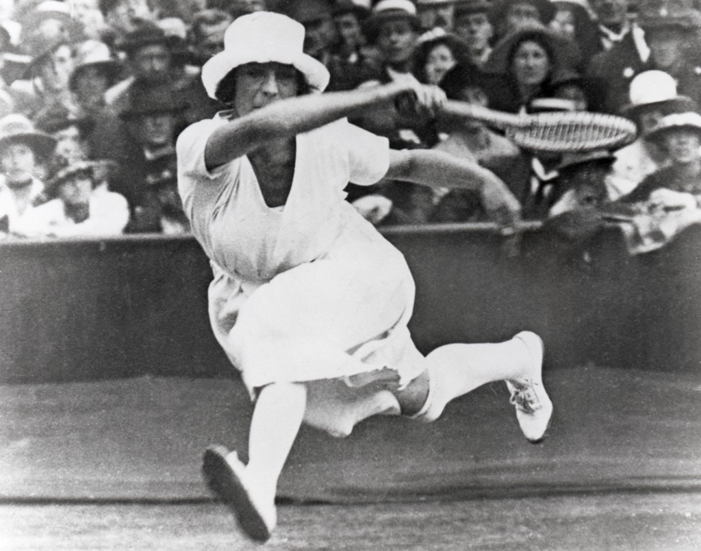 Suzanne Lenglen of France competes at tennis at the Antwerp Olympics - one of just two sports open to women