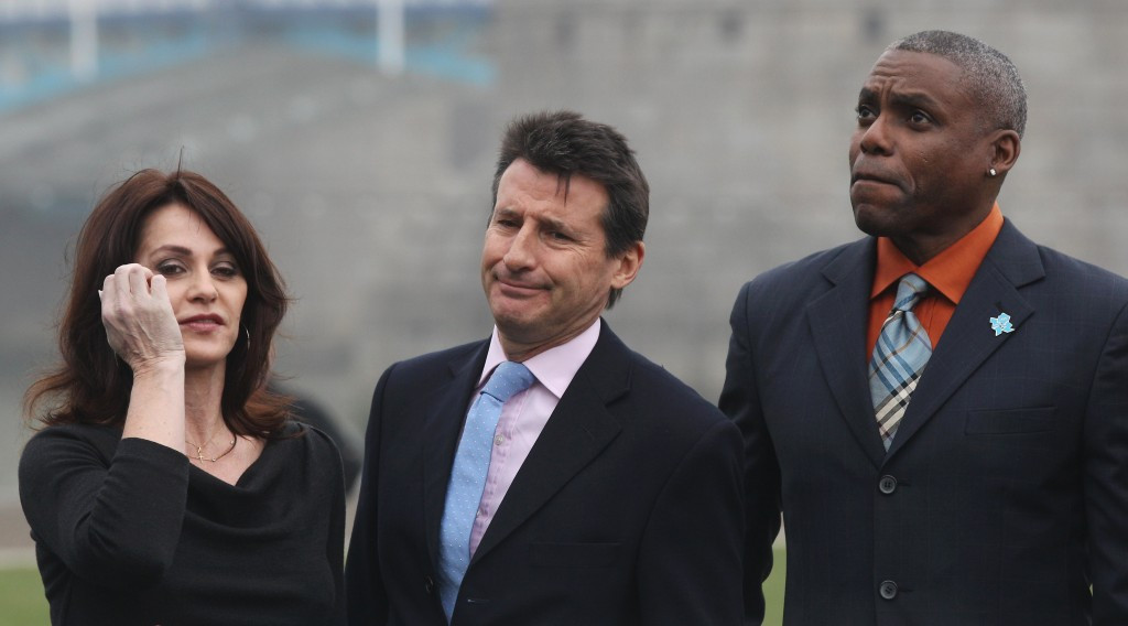 Sebastian Coe and Carl Lewis alongside Romanian gymnast Nadia Comaneci at an event launching ticket sales for the London 2012 Olympics, where the American had backed the Briton to become the next IAAF President ©Getty Images