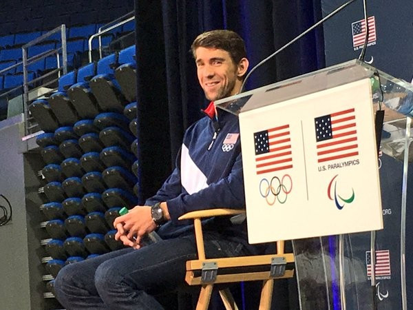 Michael Phelps spoke to the press here this evening ©USOC/Twitter