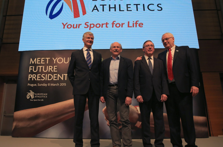European Athletics President Hansjörg Wirz (second left) and the three men vying to replace him tomorrow - (from left), Antti Pihlakovski, Jean Gracia and Svein Arne Hansen