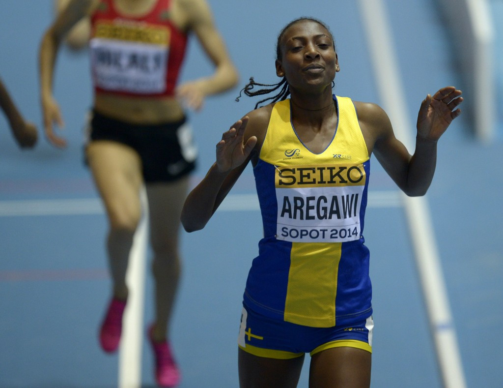 Abeba Aregawi won the 1500 metres at the IAAF World Indoor Championships in Sopot in 2014 but will be unable to defend her title in Portland later this month ©Getty Images