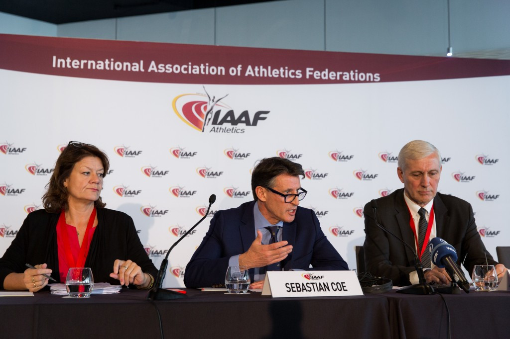 Sebastian Coe, centre, and Rune Andersen, right, head of the IAAF Taskforce, announced today that Russia's suspension has not been lifted ©Getty Images