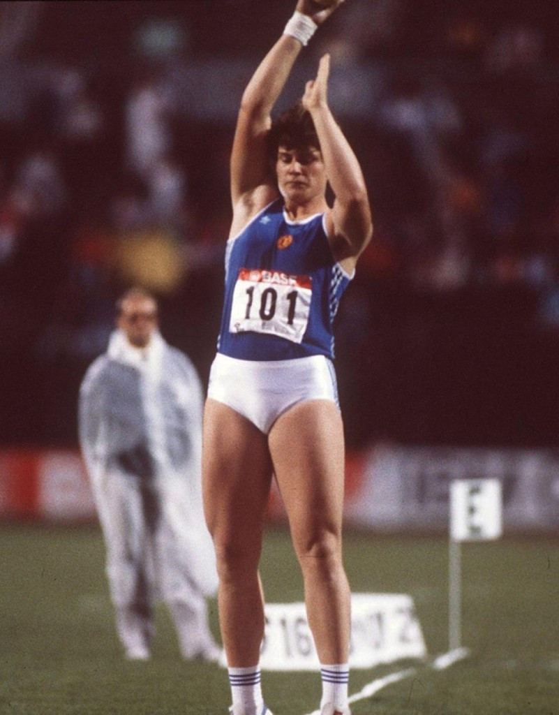 Heidi Krieger won the shot put at the 1986 European Championships at Stuttgart but was so full of anabolic steroids it had far-reaching effects on her life ©Getty Images