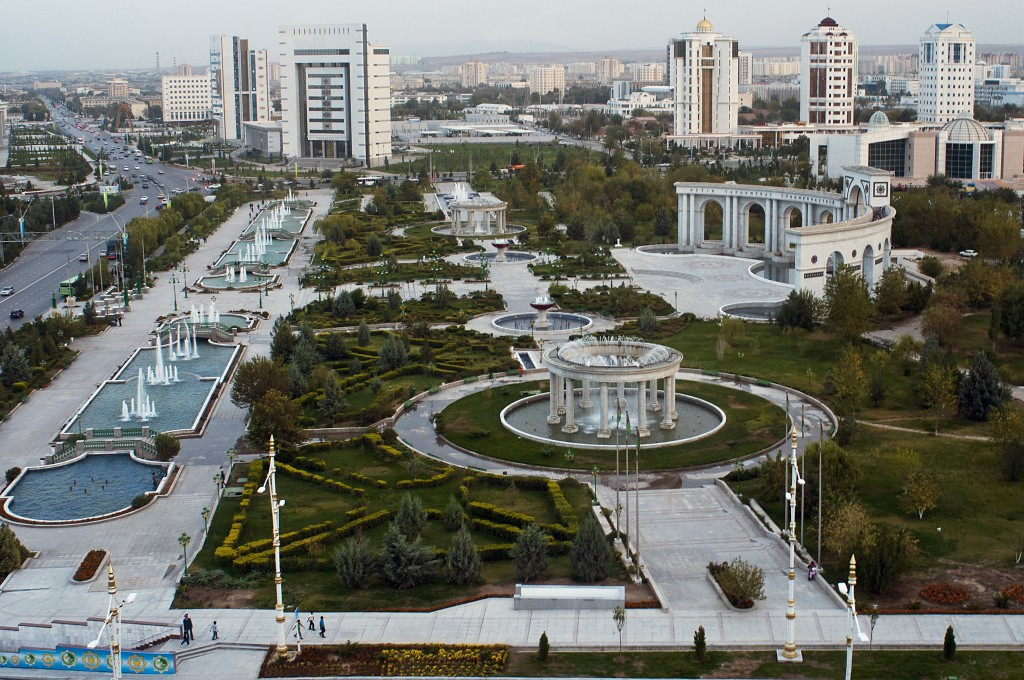 Ashgabat is in the Guinness Book of Records as the city as having the highest concentration of white marble buildings in the world