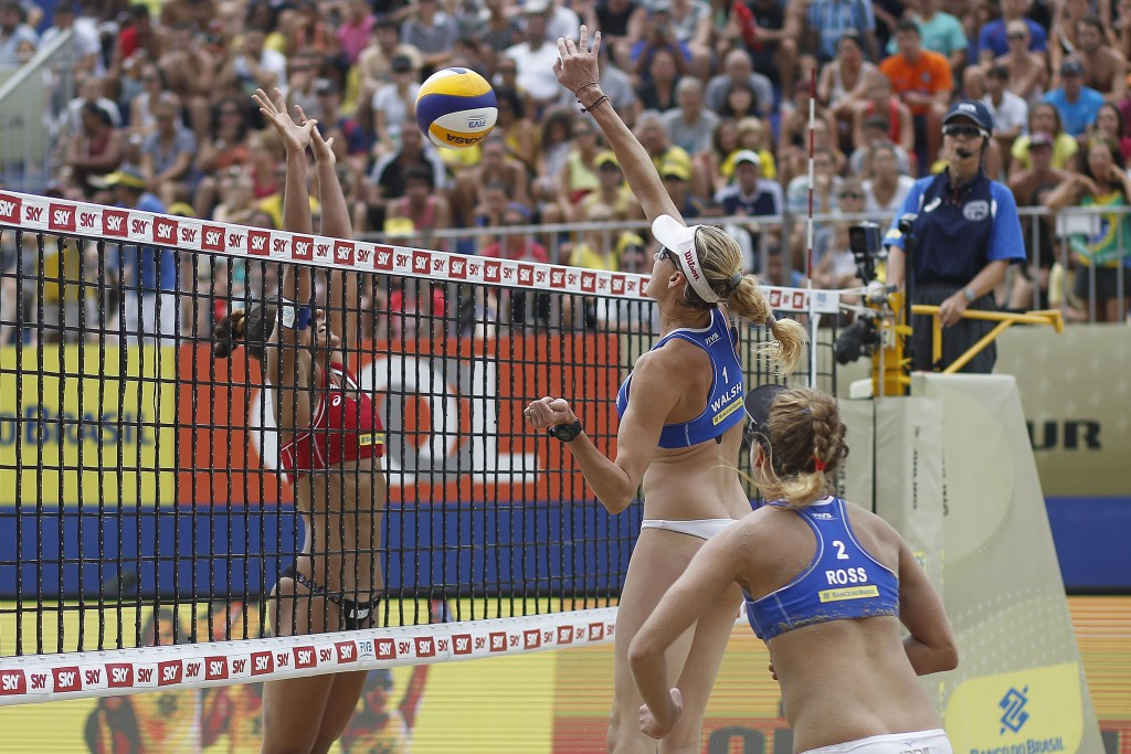 Three-time Olympic gold medalist Kerri Walsh Jennings and April Ross claimed gold in the women's event