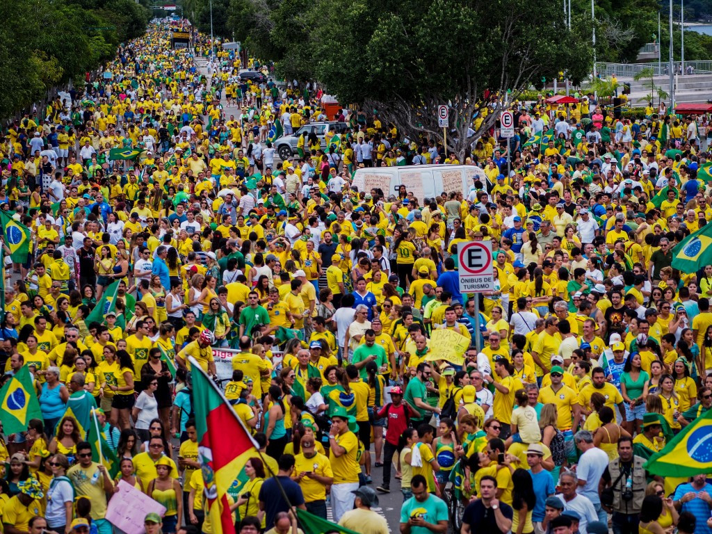 Over a million protesters took to the streets across Brazil to demonstrate against President Dilma Rousseff ©Getty Images