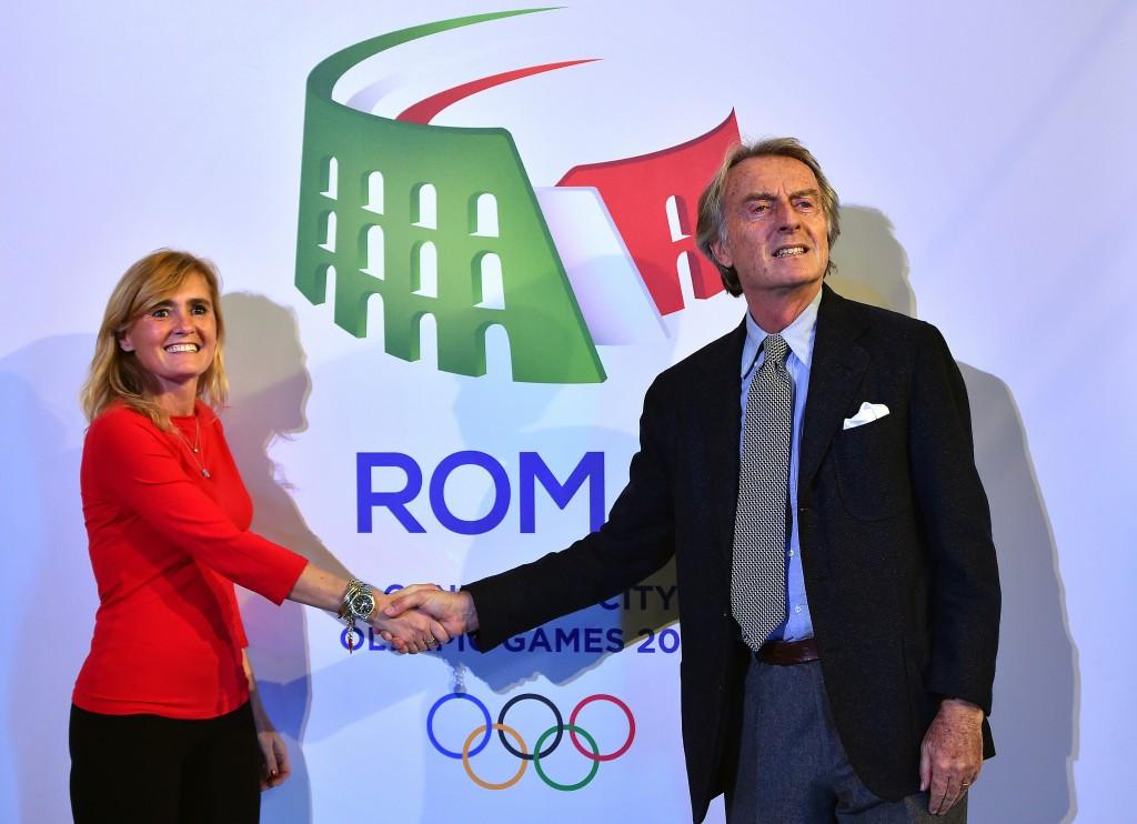 Diana Bianchedi, left, with Rome 2024 chairman Luca Cordero di Montezemolo