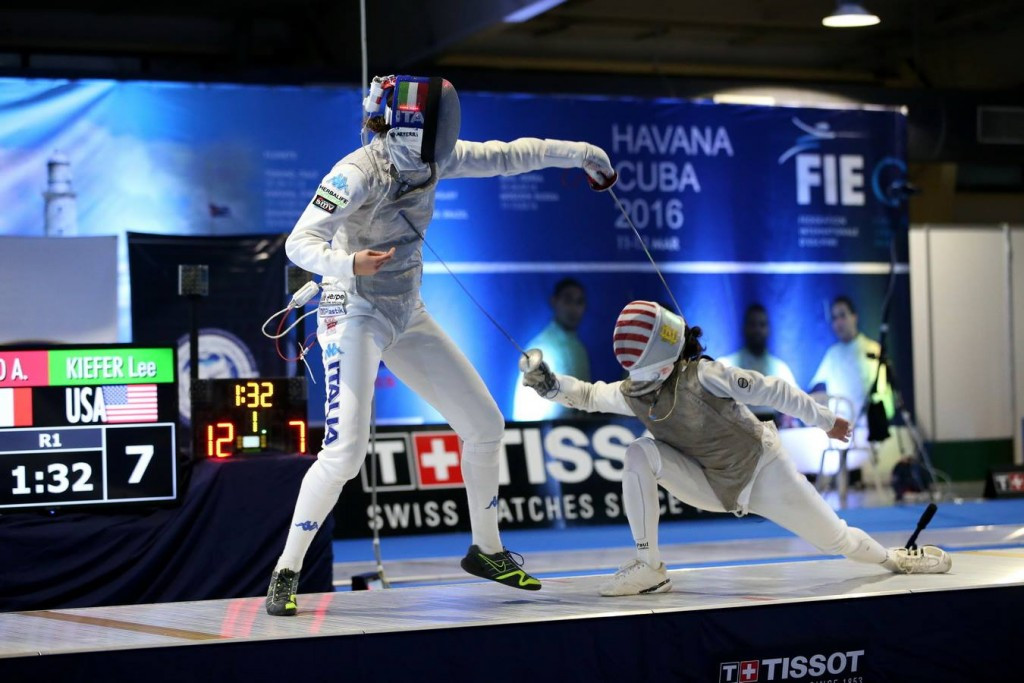 Arianna Errigo of Italy won the women's event by overcoming Lee Kiefer of the United States in the gold medal contest