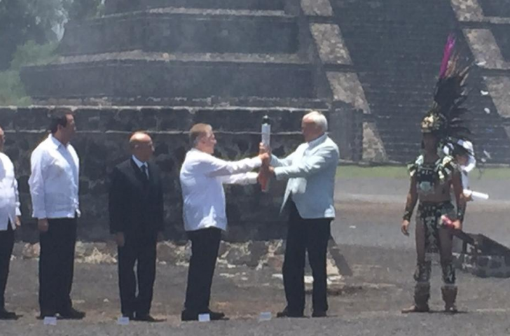 The Pan American Games Torch being lit in traditional fashion in Mexico ©COM