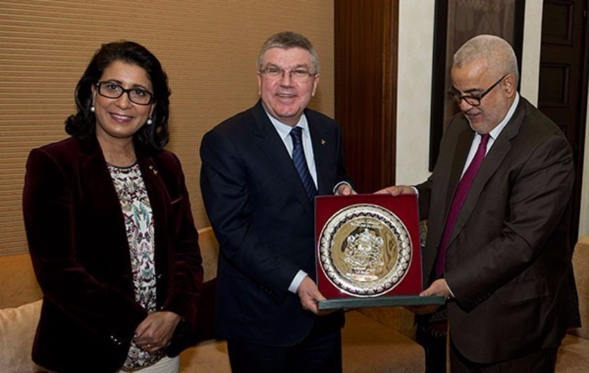IOC President and vice-president Thomas Bach (centre) and Nawal El-Moutawakel met with Moroccan Head of Government Abdelilah Benkirane during their visit ©IOC/Greg Martin