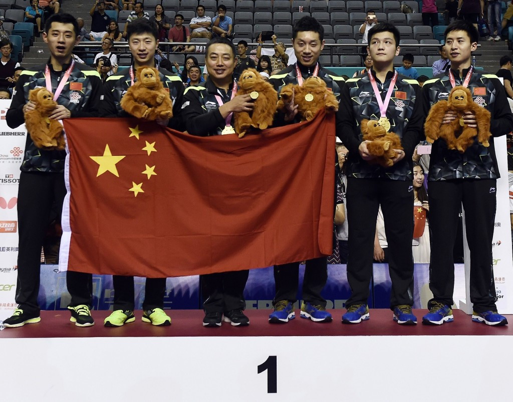 Ma Long (second left) and his Chinese team-mates will look to follow-on from their dominant success at the World Team Championships in Kuala Lumpur ©AFP/Getty Images