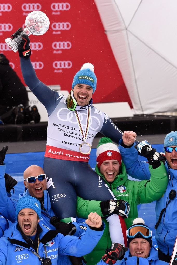 Peter Fill celebrates his downhill title
