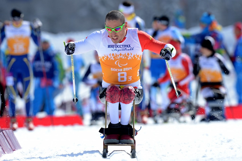 Grigory Murygin, pictured competing at Sochi 2014, was among Russian winners at the IPC Biathlon World Cup Finals ©AFP/Getty Images