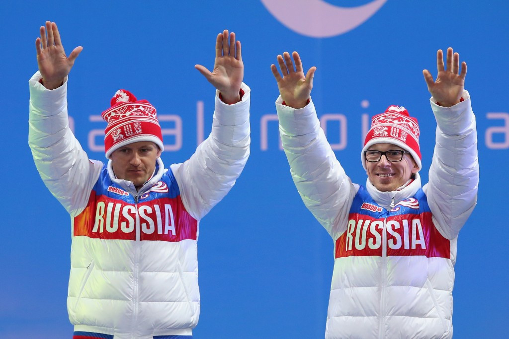 Nikolay Polukhin (right) and guide Andrey Tokarev pictured celebrating gold at the Sochi 2014 Paralympics ©Getty Images