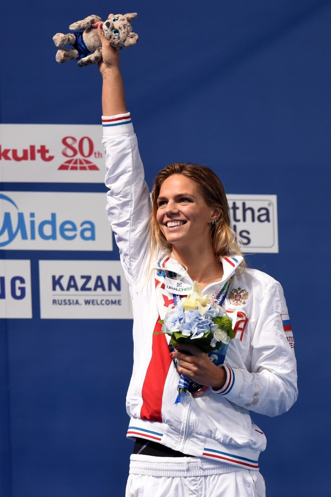 Yuliya Efimova claimed a gold and a bronze medal at Kazan 2015 after returning from a 16-month doping ban ©Getty Images