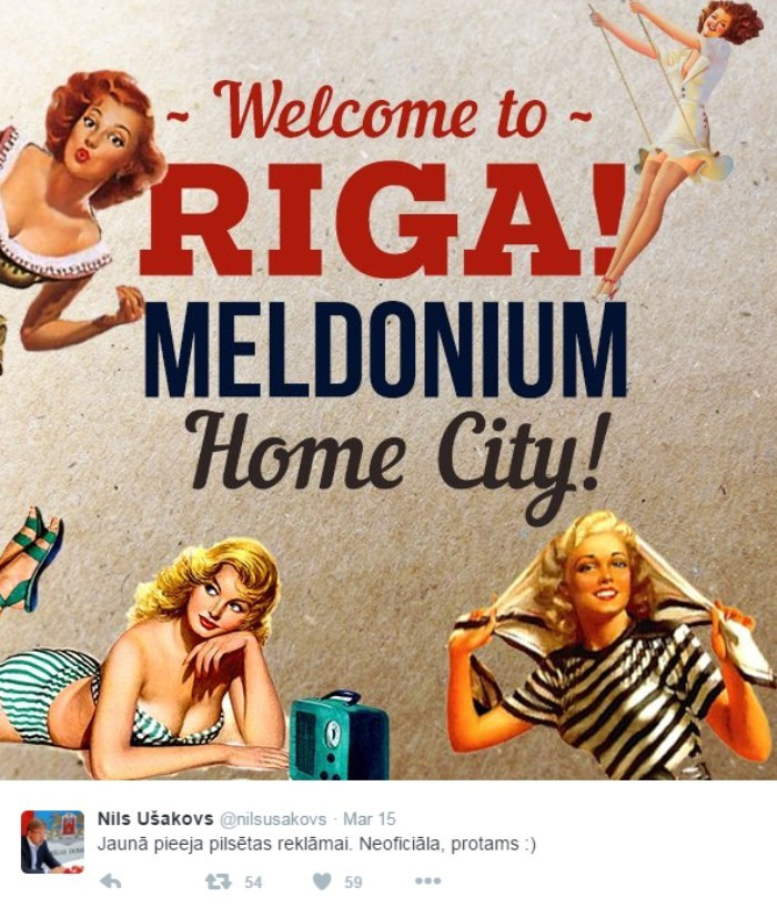 Riga Mayor Nils Ušakovs jokes about the origin of meldonium raising the profile of his city ©Twitter