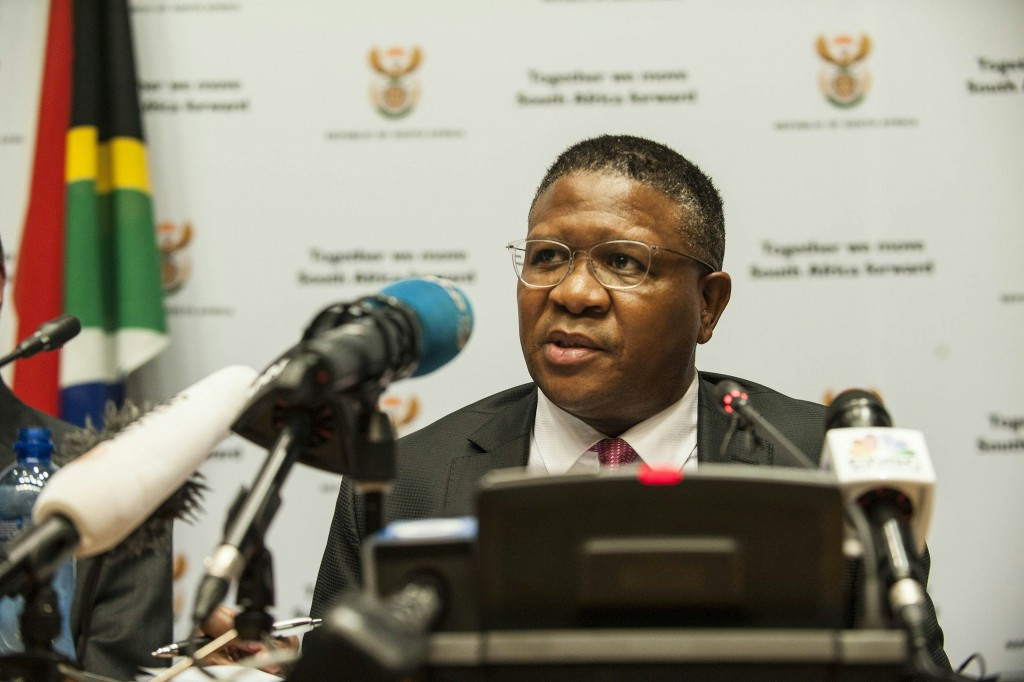 Fikile Mbalula addresses the media today ©Getty Images