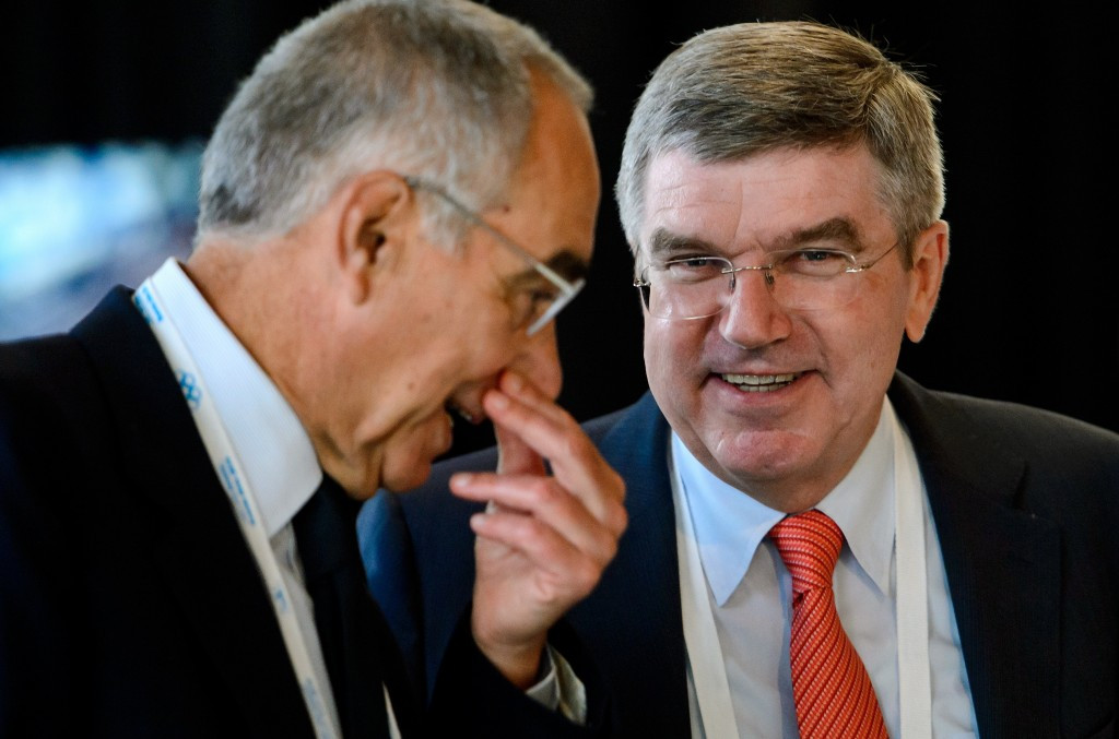 Franco Carraro (left), pictured alongside International Olympic Committee President Thomas Bach, is chair of the IOC Programme Commission, which met in Lausanne today ©Getty Images