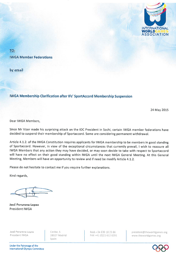 IWGA have permitted members to leave SportAccord in light of exceptional circumstances ©ITG