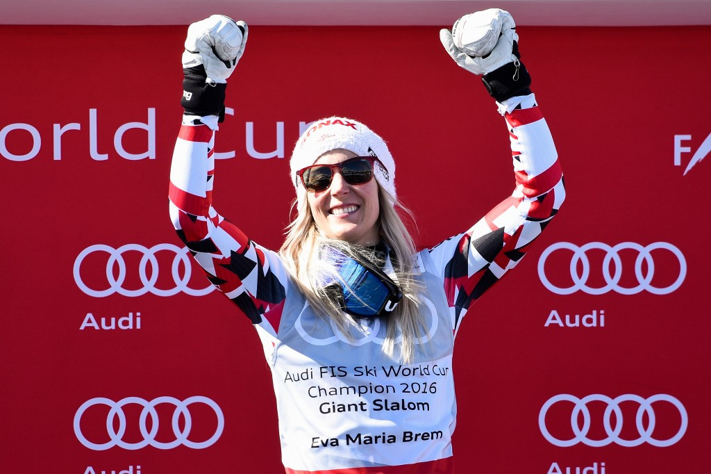 Eva-Maria Brem won the giant slalom title as the FIS World Cup season concluded ©Getty Images