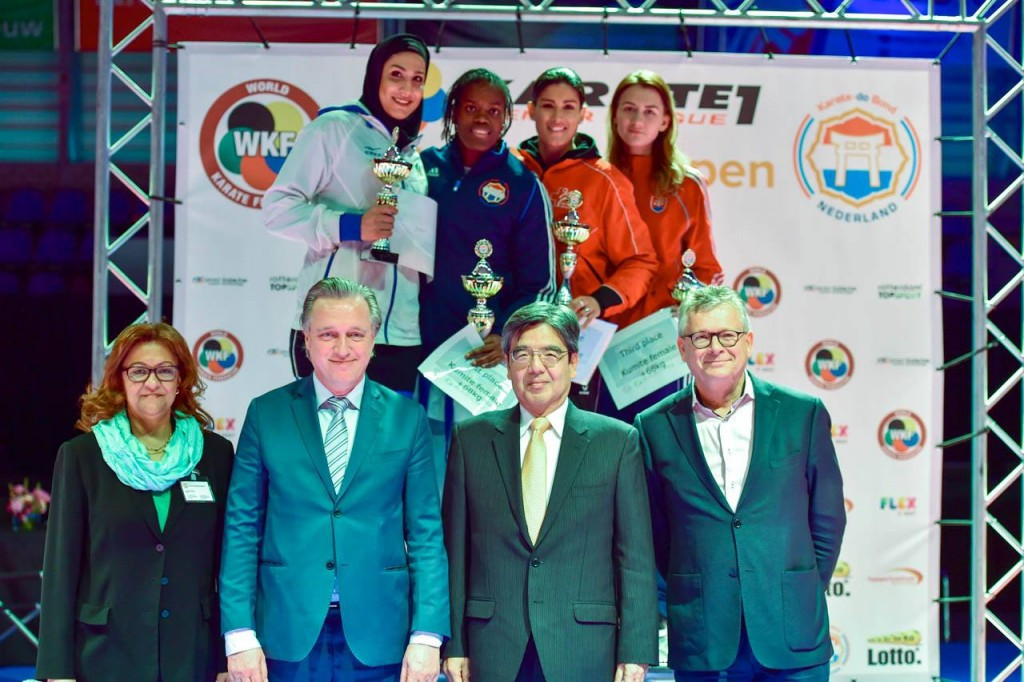 The Netherlands Tania Nortan Vanesca, second left, won the women's heavyweight division at the Karate 1-Premier League event in Rotterdam, one of two home victories ©WKF/Facebook