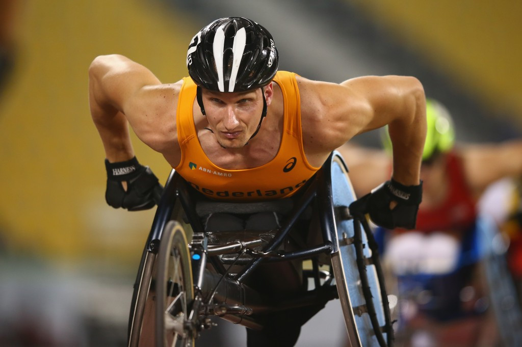 The Netherlands' reigning world and European champion Kenny van Weeghel claimed victory in the men's 200 metres T54 on the final day of competition at the IPC Athletics Grand Prix in Dubai ©Getty Images
