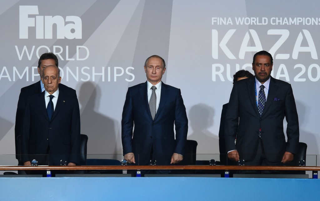 Russian President Vladimir Putin was awarded the FINA Order in 2014 and was guest of honour at last year's World Aquatics Championships in Kazan ©Getty Images