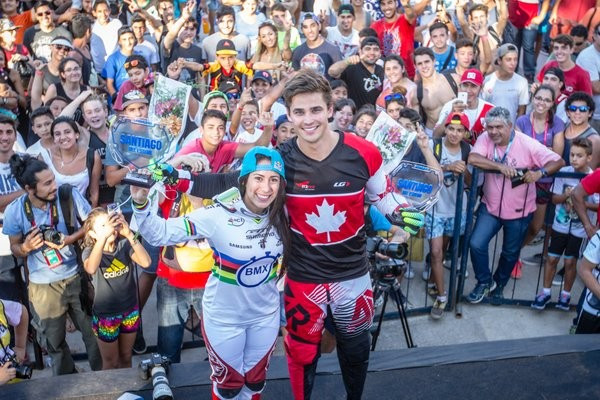 Colombia's Mariana Pajon and Canada's Tory Nyhaug won the time trials ©Twitter/UCI BMX Supercross