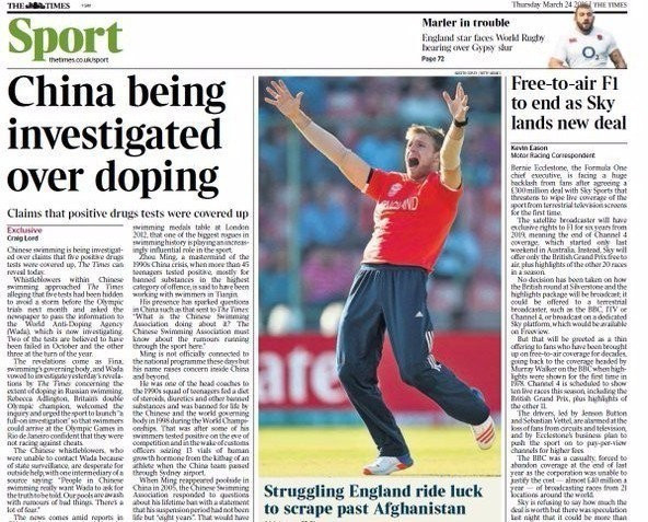 The news comes after allegations of doping cover-ups in Chinese swimming were reported