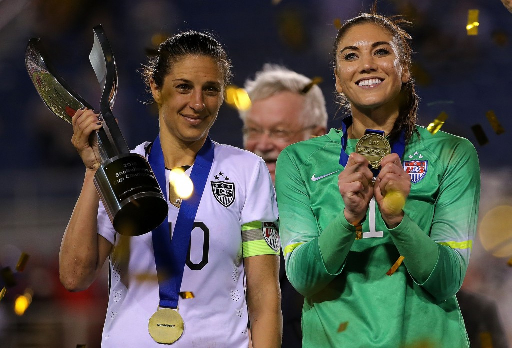 Carli Lloyd and Hope Solo are two of the players involved in the lawsuit against the United States Soccer Federation ©Getty Images