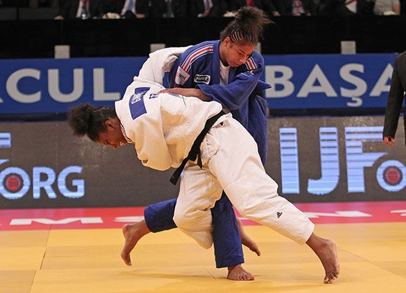 Marie-Eve Gahie beat Fanny Estelle Posvite in an all-French women's under 70kg final