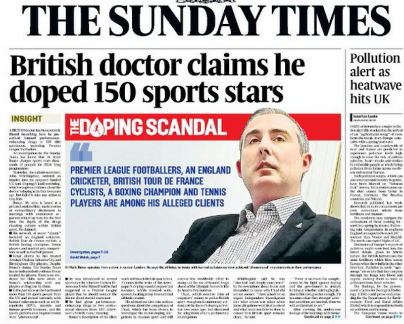 The Sunday Times has claimed that a doctor has helped 150 sportsmen dope illegally ©The Sunday Times