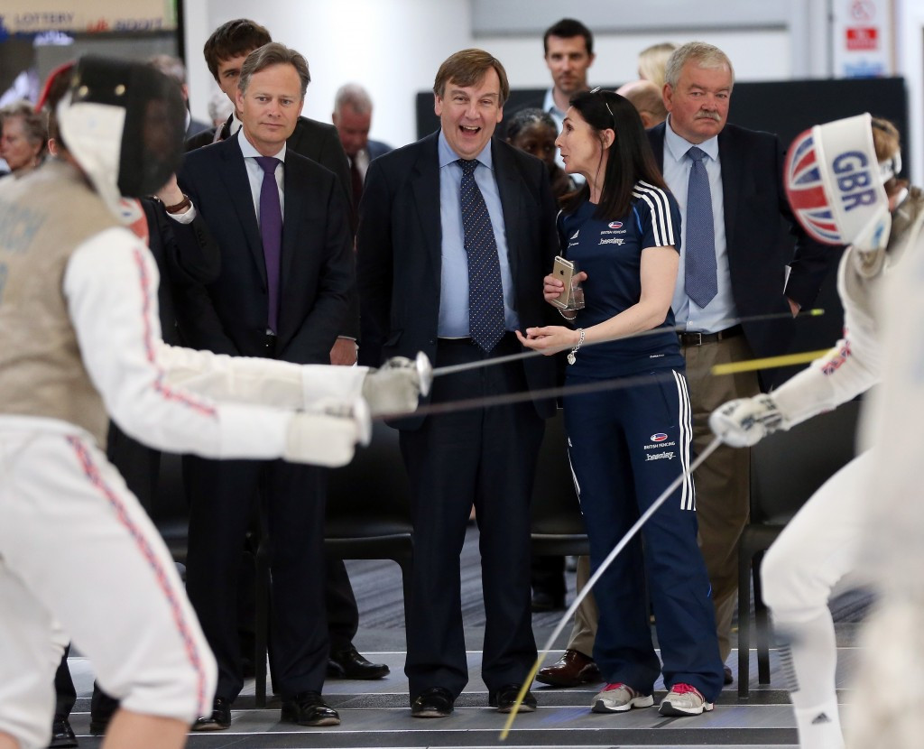 John Whittingdale, the UK's Secretary of State for Culture, Media and Sport, watches the action at British Fencing's Elite Training Centre ©UK Sport