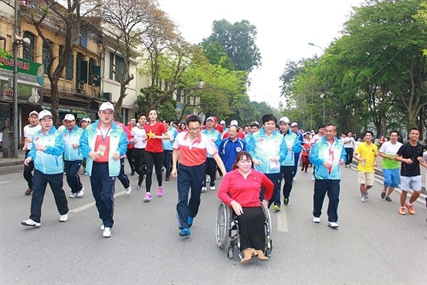 An Olympic Day Run was held as part of celebrations to mark the 70th anniversary of Vietnam Sport Day ©VOC