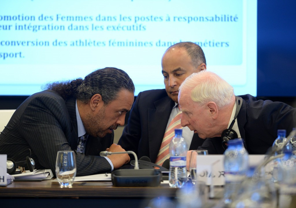 Sheikh Ahmad Al-Fahad Al-Sabah, left, pictured chairing yesterday's ANOC Executive Council meeting here alongside fellow Kuwaiti Ahmed Al-Sadoun and IOC autonomy tsar, Patrick Hickey ©Getty Images
