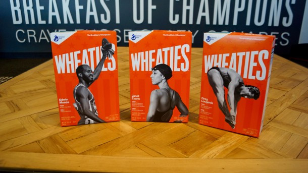 Janet Evans and Greg Louganis are among the latest athletes to be placed on the front of Wheaties boxes