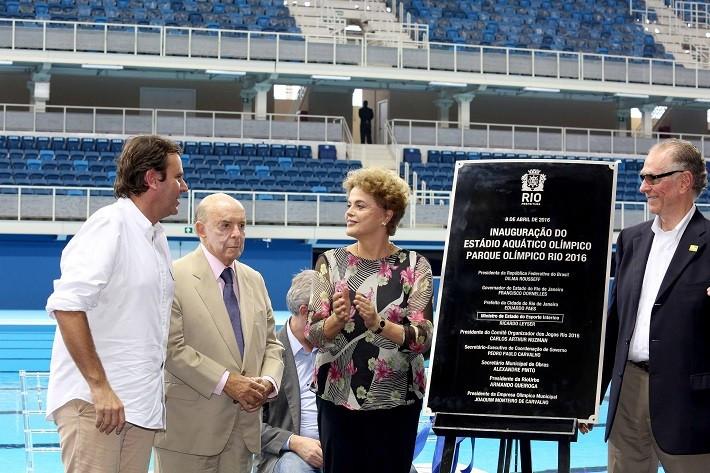 Dilma Rousseff (second right) opening the Aquatics Centre ©Rio 2016/Alex Ferro