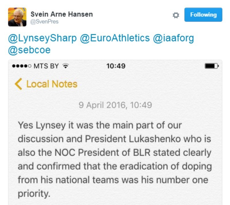 European Athletics President Svein Arne Hansen posts a text on Twitter in response to a question from British runner Lynsey Sharp about doping in Belarus ©Twitter
