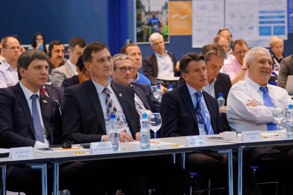 Olympic gold medallist Vadim Devyatovskiy, far left, held talks with IAAF President Sebastian Coe, second right, after haivng a lifetime doping ban lifted by CAS ©Belarussian Athletics Federation