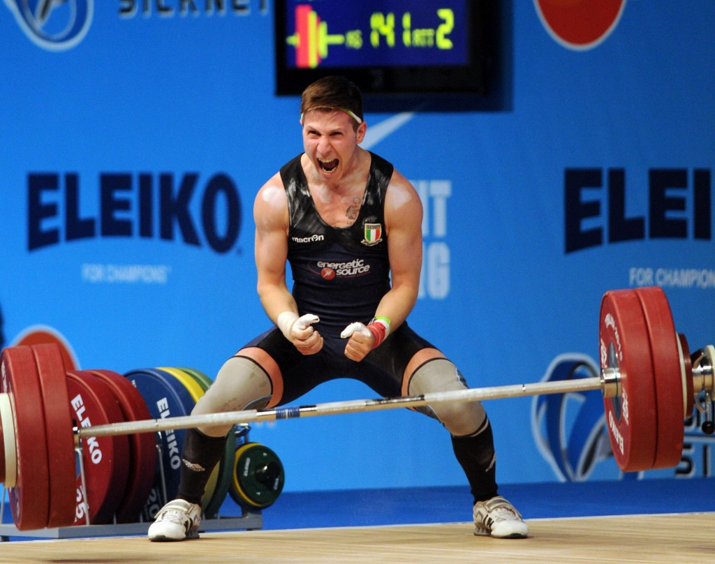 Italy's Mirco Scarantino celebrates winning European Weightlifting Championships gold in the 56kg category ©Getty Images