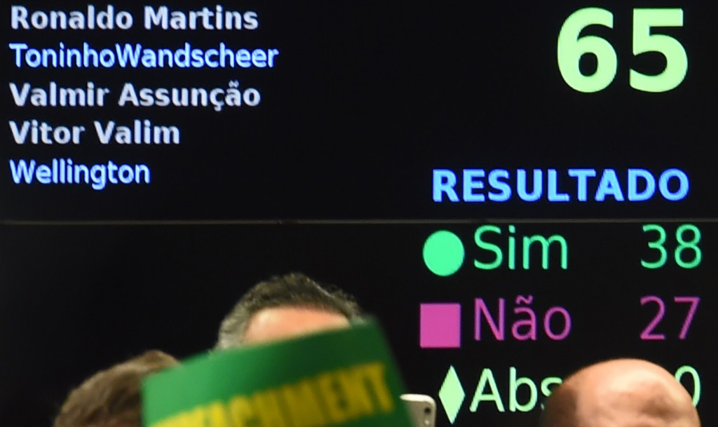 A results screen showing the impeachment vote this evening against Dilma Rousseff ©Getty Images