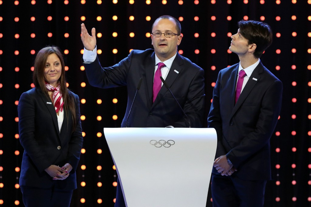 Patrick Baumann, pictured during the successful Lausanne 2020 bid, is working hard to appeal to non-Olympic sports ©Getty Images